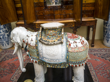 Pottery elephant on display in an English Museum Editorial