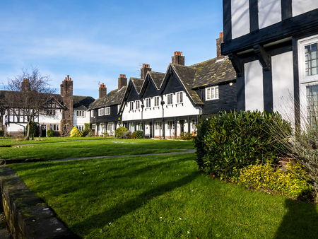 Homes at the model village of Port Sunlight near Liverpool, created by William Hesketh Lever for his Sunlight soap factory workers in 1888. The many different styles of houses make an interested tour of post 19th century housing.