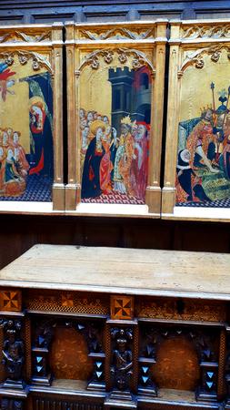 Medieval altar panel in museum display