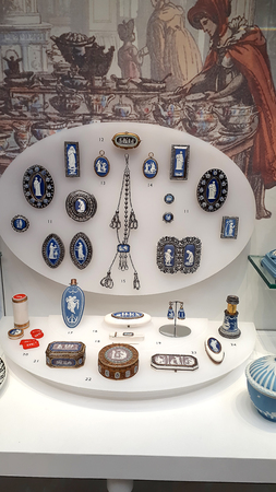 Display of Victorian pottery jewellery in Museum