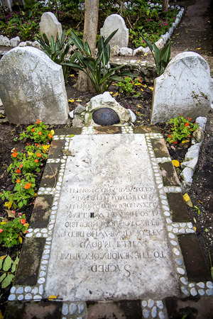 Grave in the Trafalgar Cemetery where the sailors who died of their wound after the battle are buried Editorial