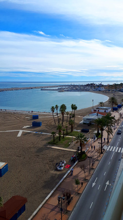 The coast road along the 7 miles stretch of Beach in Fuengirola Editorial