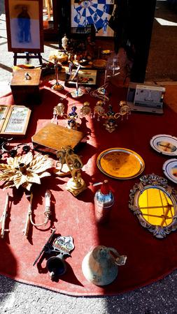 Trash or Treasure items on sale on the fleamarket in Fuengirola Spain Editorial