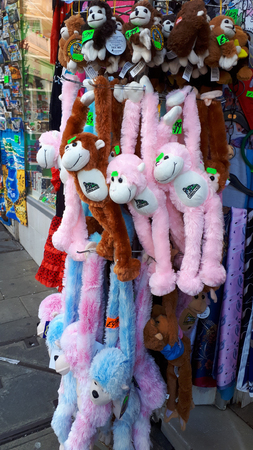 Toy monkeys or apes on sale in many shops in the main street on the Rock of Gibraltar