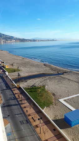 The long clean beach at Fuengirola on the Costa del Sol in Spain Stock Photo