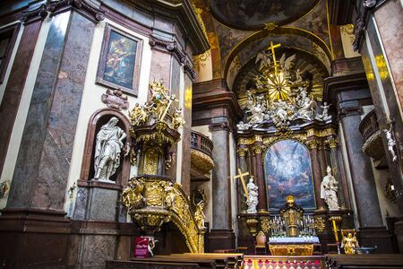 the Church of St Francis of Assisi by the Charles Bridge in Prague Editorial