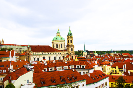 St Nicholas Church in the old Town of Prague beneath the castle with the rooftops of the city