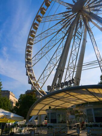 The Budapest Eye is a huge ferris wheel in the heart of the city of Budapest in Hungary  The Ferris Wheel opened on Erzsébet Square in mid-march 2017 and operates throughout the year Editorial