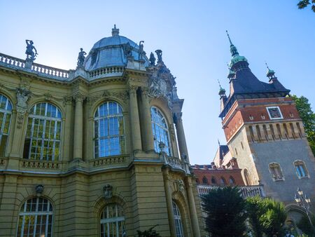 Vajdahunyad Castle is in the City Park of Budapest, Hungary built in 1896 celebrated the 1,000 years of the founding of Hungary,and is in fact a fantasy pastiche showcasing the architectural evolution through centuries and styles in Hungary Editorial