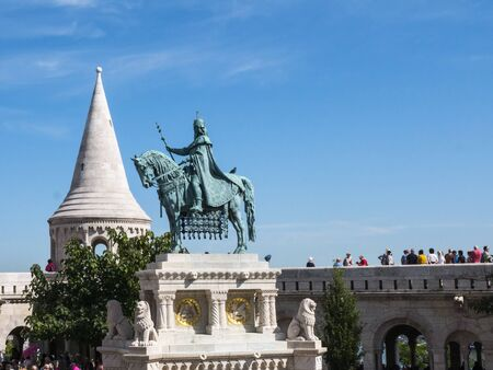 Statue of St Stephan on his horse,the first king of Hungary on the Fishermens Bastion