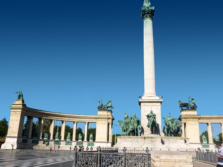 Heroes Square is noted for its iconic statue complex featuring the Seven chieftains of the Magyars and other important Hungarian leaders, as well as the Memorial Stone of Heroes Editorial