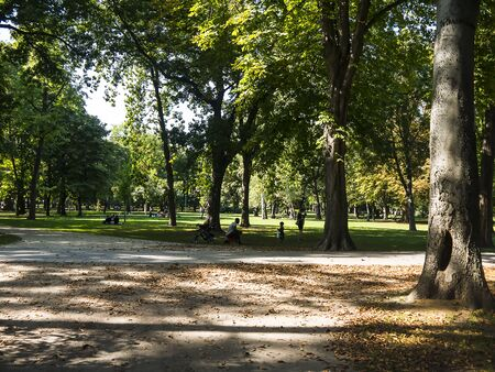 The Park on Margaret Island in the River Danube in Budapest is a quiet oasis in the busy city of Budapest in Hungary Banco de Imagens