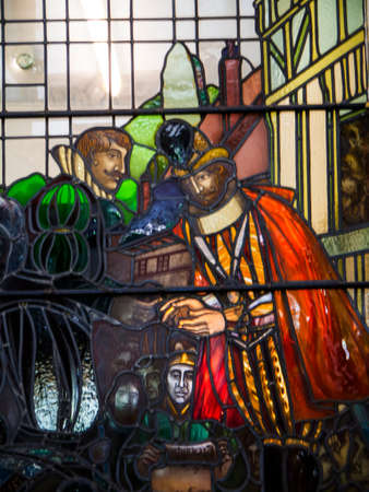 Stained Glass window in the Spa Baths in Ripon North Yorshire This is a stained-glass windows at the spa baths shows the Anglo-Saxon king Athelstan giving the city Charter to Ripon in AD924. Éditoriale