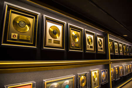 Graceland is a mansion in Memphis, Tennessee and was home to Elvis Presley. It opened to the public in 1982. These are some of Elvis' over 140 gold discs and awards