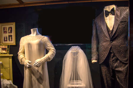 Graceland is a mansion in Memphis, Tennessee that was home to Elvis Presley. These are the wedding clothes of Elvis and Priscilla Presley