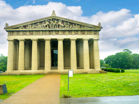 Full sized replica of the Parthenon Temple of Athens in concrete in park in Nashville Tennessee