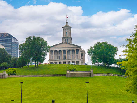 The State House of Tennessee above the Cumberland River in Nashville Tennessee Editorial