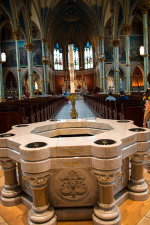 Font for 8 babies to be christened at once in the cathedral of St John the Baptist in Savannah Georgia