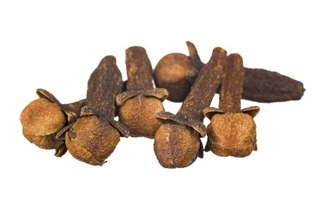 macro group of whole cloves isolated on a white background Stock Photo