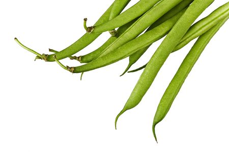 raw green beans closeup isolated on white background