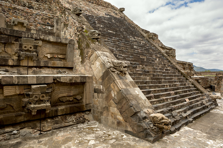 civilisation: pyramid details in Teotihuacan decorated with stone statues  Stock Photo
