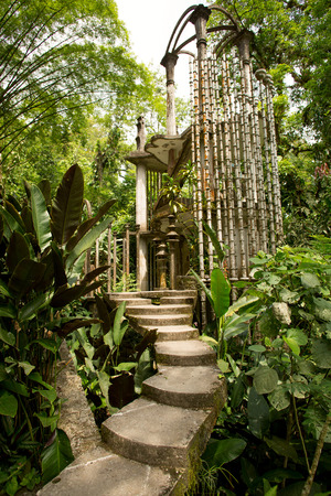 unfinished surreal concrete structure in the jungle at Las Pozas, Mexico