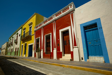 Mexican street with colorful houses