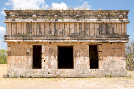 ancient Mayan building built of stone abandoned in Mexico