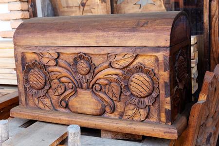 traditional carved wooden box in Tzintzuntzan,Michoacan, Mexico