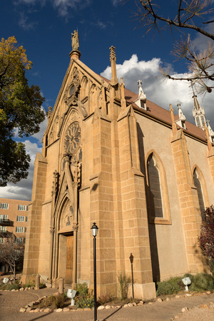 the Loretto chapel in Santa Fe, New Mexico, USA. The chapel contains the miraculous wooden spiral stairs. 스톡 콘텐츠