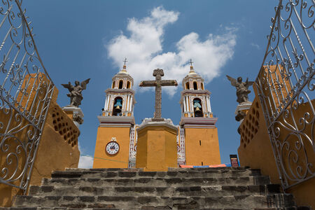our: Church of Our Lady of Remedies built on the top of the second largest pyramid inthe world in Cholula,Mexico Stock Photo