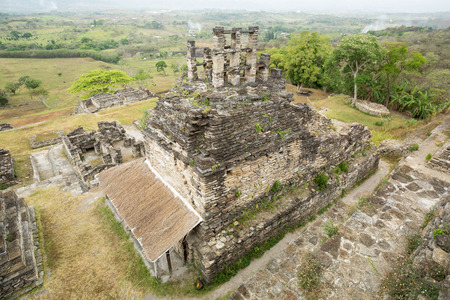 top view of a Maya temple at the archaeological site of Tonina,Chiapas,Mexico