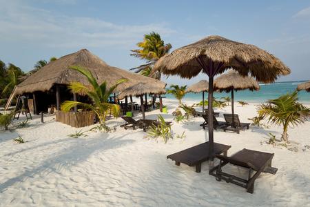 beach bar and palapas in the Mayan Riviera,Quintana Roo,Mexico