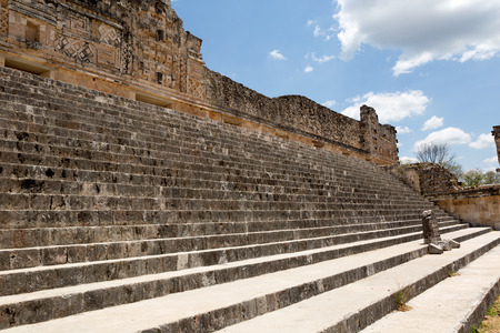 stairs leading to the main plaza at the Uxmal ruins, Mexico