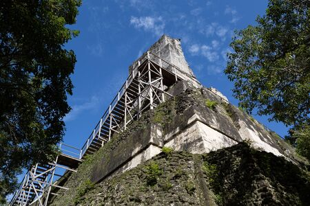 wooden stairs leading to the top of a mayan pyramid in Tikal, Guatemala