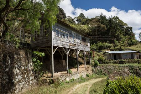 dwelling: abandoned dwelling built on beams in Honduras in the mining town of San Juacinto