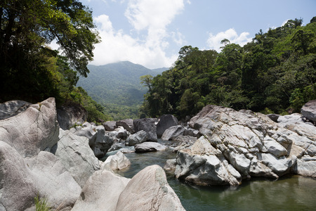 gigantesque: blocs volcaniques gigantesques flanquant la rivi�re Cangrejal au parc national du pico au Honduras