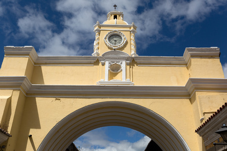 antigua: santa catalina arch la antigua guatemala with cloudy skies in the background Stock Photo