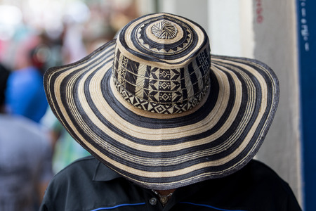antioquia: man wearing a traditional colombian straw hat called somrero vueltiao Stock Photo