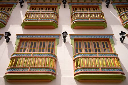 colonial wooden balconies in Colombia