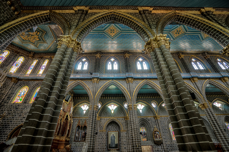 interior architectural details of the Immaculate Concepcion basilica in El Jardin Colombia