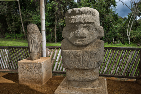 ancient pre-columbian tomb  in San Agustin Colombia