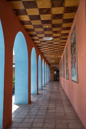 detai: architectural details of corridor arches in Pujili Ecuador