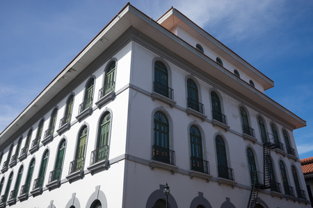 building exteriors: June 15, 2016 Panama City, Panama: closeup of a newly renovated historical building in the Casco Viejo area of the capital city Editorial