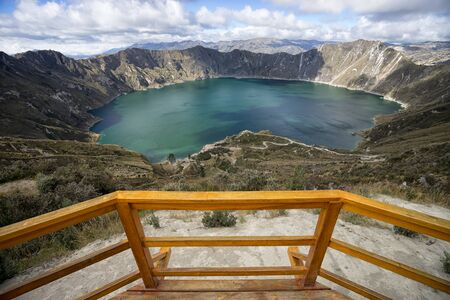 Laguna Quilotoa in Ecuador seen from the viewing deck