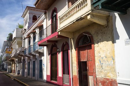 building exteriors: June 15, 2016 Panama City, Panama: closeup of a newly renovated historical buildings mixed with ruins in the Casco Viejo area of the capital city