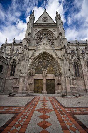 building structures: basilica de voto nacional Quito a neo-gothic style architecture in Quito Stock Photo