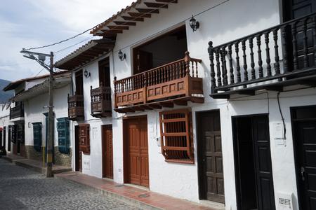 colonial architecture in Santa Fe de Antioquia Colombia Stock Photo