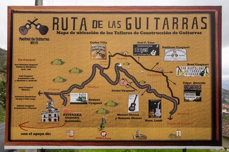 bartolome: July 22,2016 San Bartolome, Ecuador: detailed roadside map of the guitar manufacturers route in Ecuadors highlands Editorial