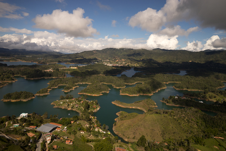 artificially: artificially created lake for hydroelectric energy production in Guatape Colombia seen from the top of the Penon rock Stock Photo